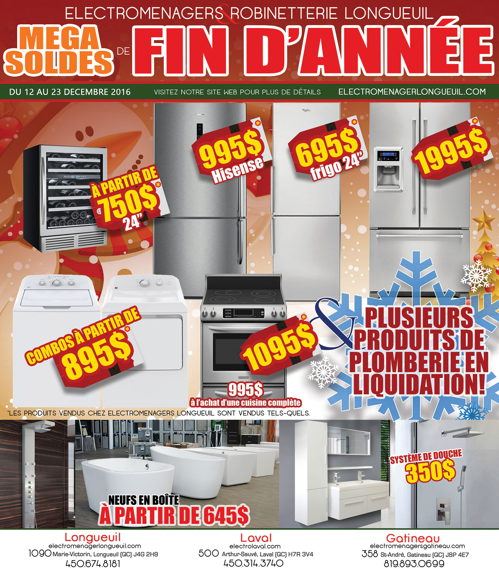 M ga soldes de fin d 39 ann e liquidation lectrom nagers for Liquidation electromenager longueuil